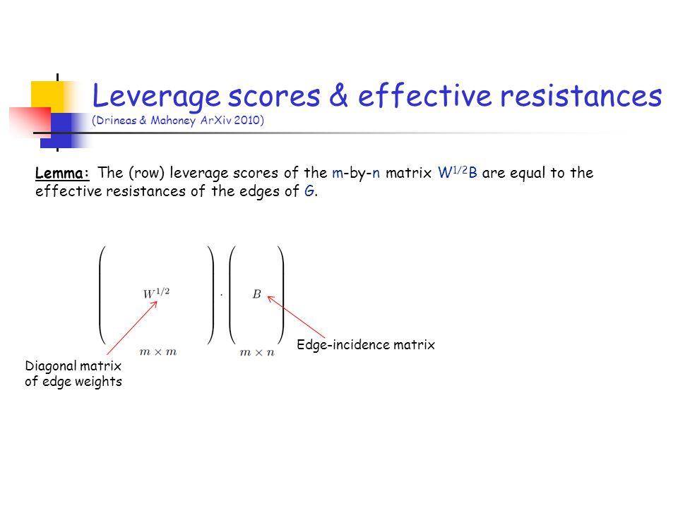 Leverage scores & effective resistances (Drineas & Mahoney ArXiv 2010) Lemma: The (row) leverage scores of the m-by-n matrix W 1/2 B are equal to the