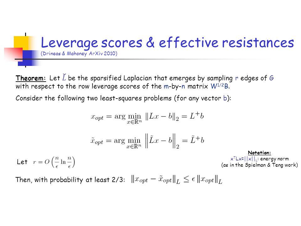 Then, with probability at least 2/3: Let Leverage scores & effective resistances (Drineas & Mahoney ArXiv 2010) Notation: x T Lx=  x   L : energy norm