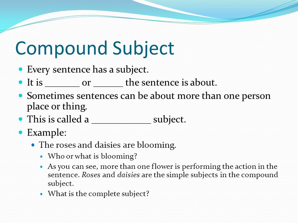 Compound Subject Every sentence has a subject. It is _______ or ______ the sentence is about.