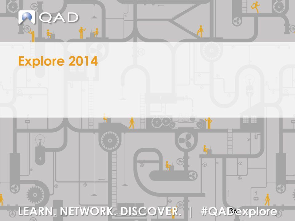 LEARN. NETWORK. DISCOVER. | #QADexplore Explore 2014 36