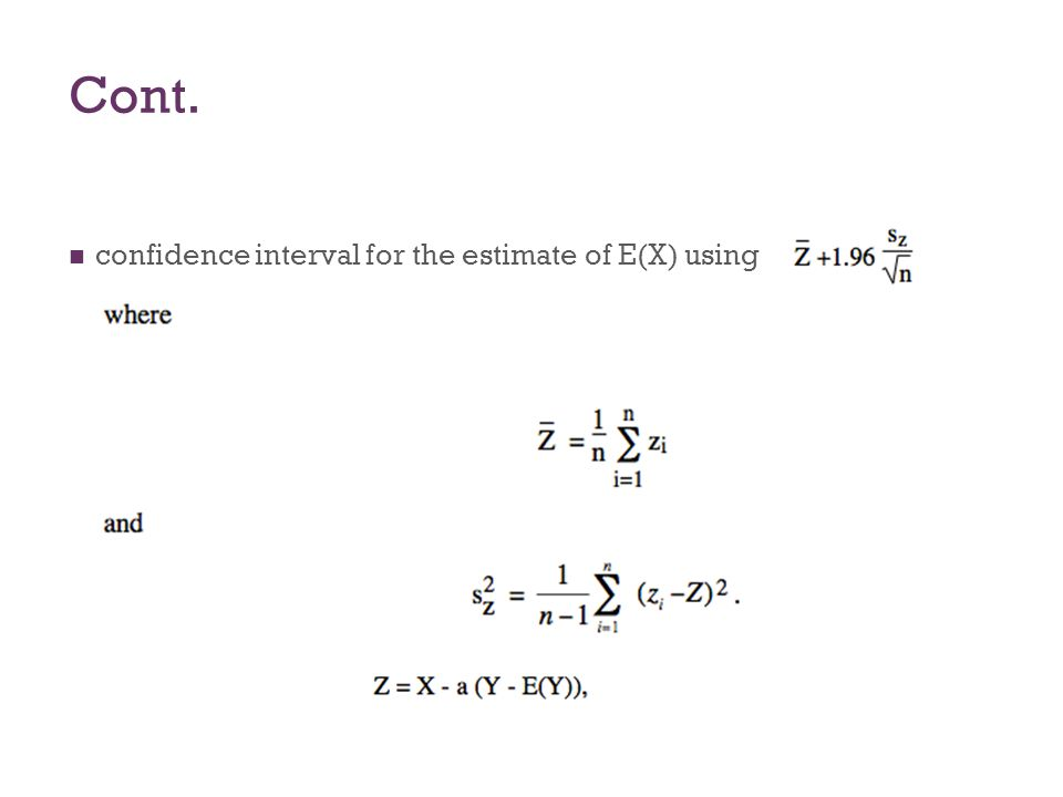Cont. confidence interval for the estimate of E(X) using