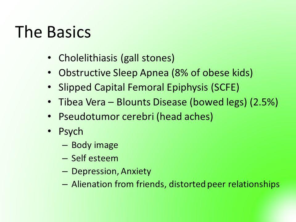 The Basics Cholelithiasis (gall stones) Obstructive Sleep Apnea (8% of obese kids) Slipped Capital Femoral Epiphysis (SCFE) Tibea Vera – Blounts Disea
