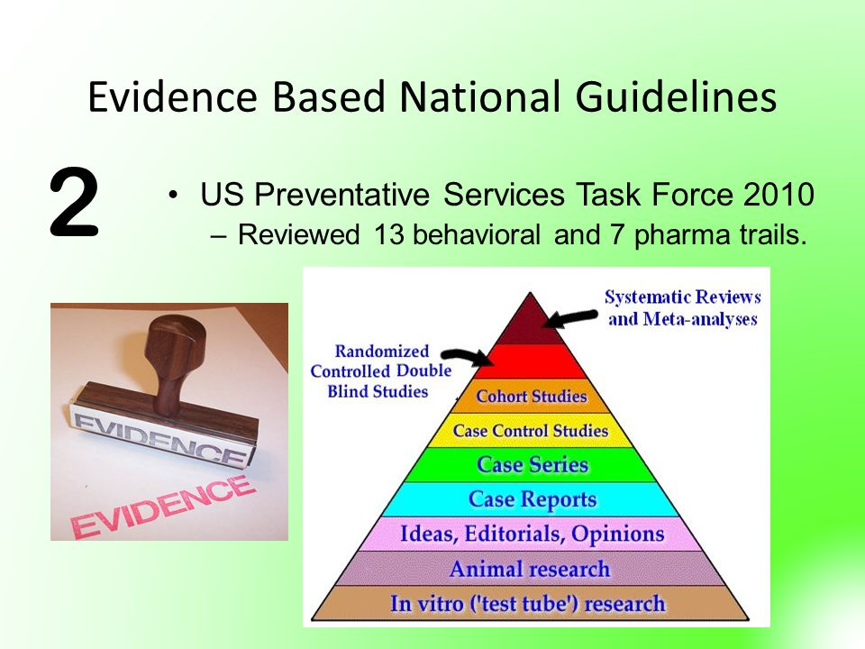 Evidence Based National Guidelines US Preventative Services Task Force 2010 –Reviewed 13 behavioral and 7 pharma trails. 2