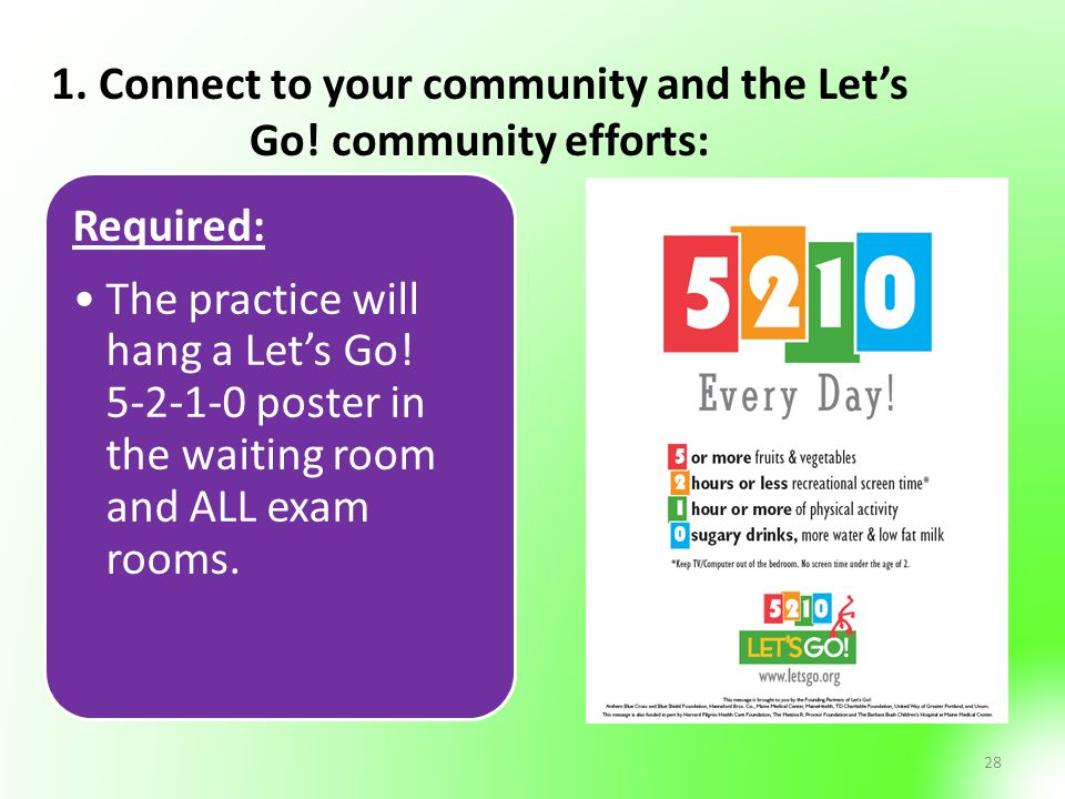 28 1. Connect to your community and the Let's Go! community efforts: