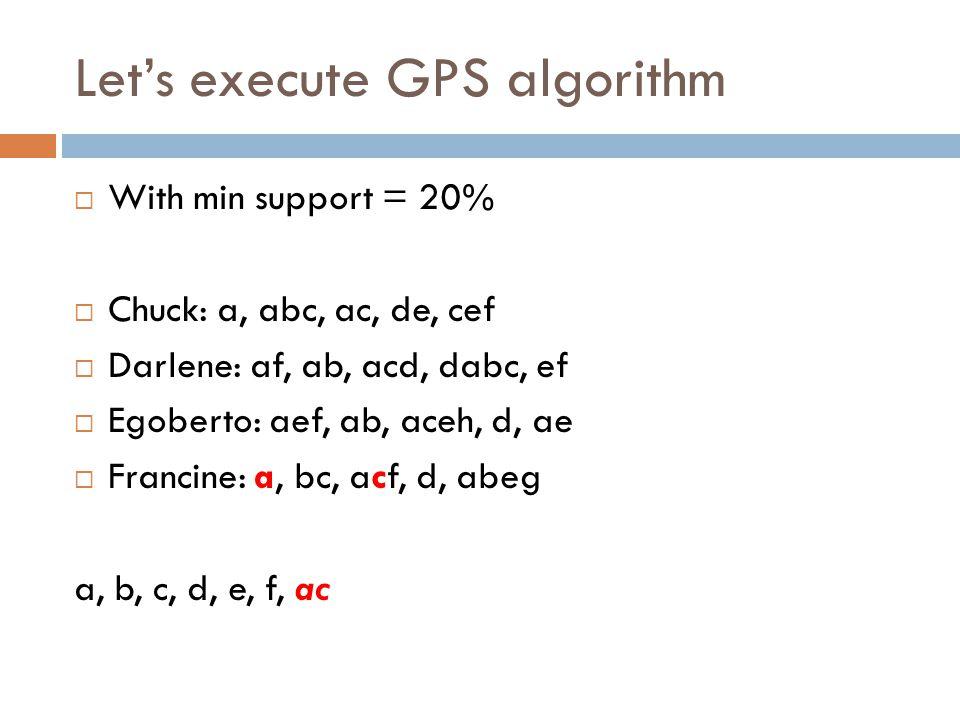 Let's execute GPS algorithm  With min support = 20%  Chuck: a, abc, ac, de, cef  Darlene: af, ab, acd, dabc, ef  Egoberto: aef, ab, aceh, d, ae 