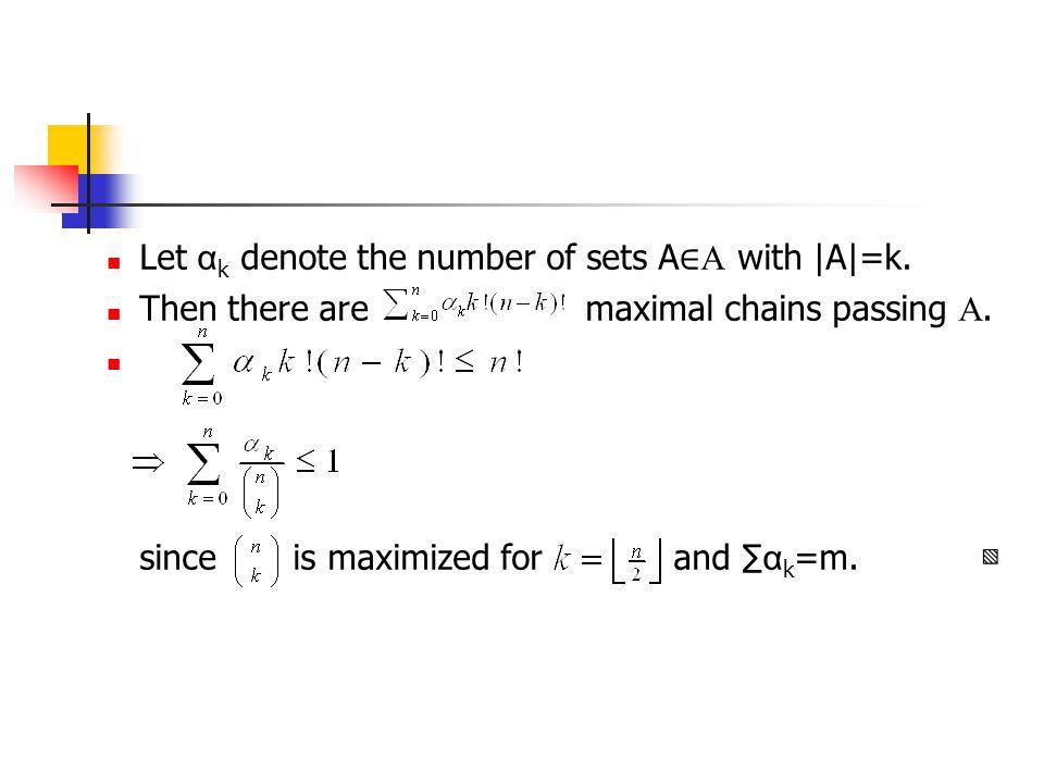 Let α k denote the number of sets A ∈  with |A|=k.