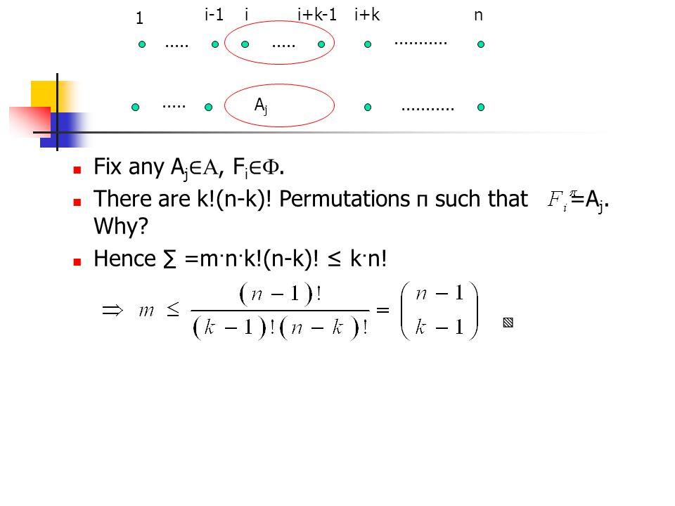 Fix any A j ∈ , F i ∈ . There are k!(n-k)! Permutations п such that =A j. Why? Hence ∑ =m · n · k!(n-k)! ≤ k · n! ▧ 1 i-1ii+k-1i+kn.................