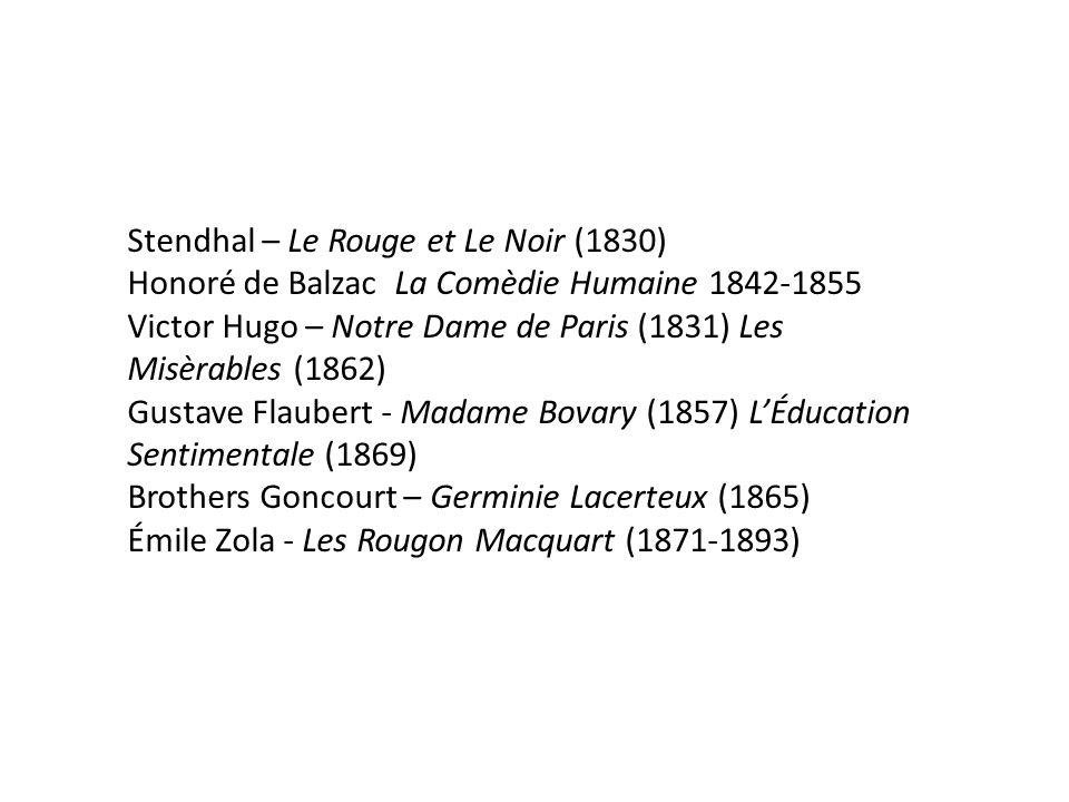 Stendhal – Le Rouge et Le Noir (1830) Honoré de Balzac La Comèdie Humaine 1842-1855 Victor Hugo – Notre Dame de Paris (1831) Les Misèrables (1862) Gustave Flaubert - Madame Bovary (1857) L'Éducation Sentimentale (1869) Brothers Goncourt – Germinie Lacerteux (1865) Émile Zola - Les Rougon Macquart (1871-1893)