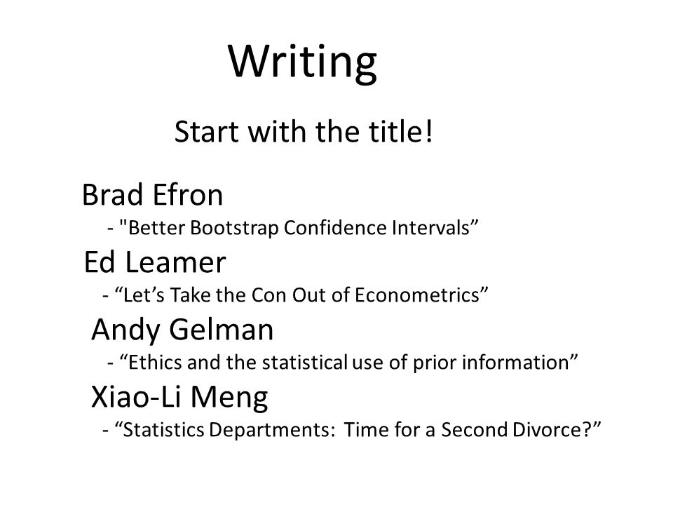 Writing Start with the title.