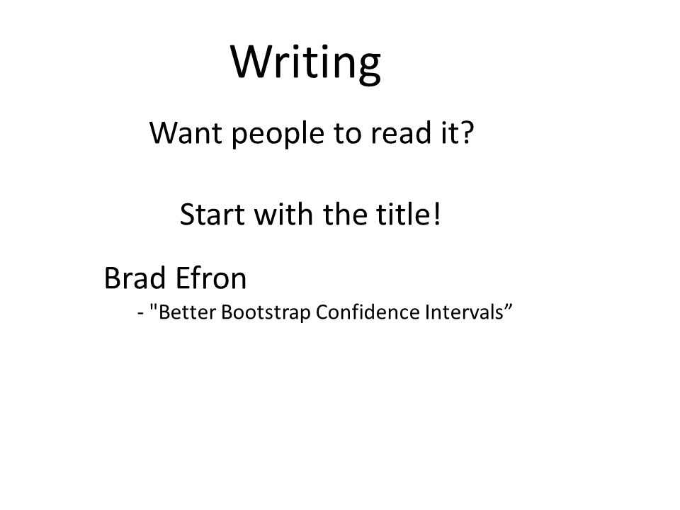Writing Want people to read it. Start with the title.