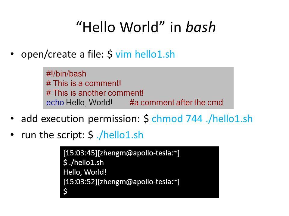 Conditions #!/bin/bash V3= 3 if [[ $V3 = 1 ]]; then echo expression evaluated as 1 elif [[ $V3 = 2 ]]; then echo expression evaluated as 2 else echo expression evaluated as > 2 fi if...