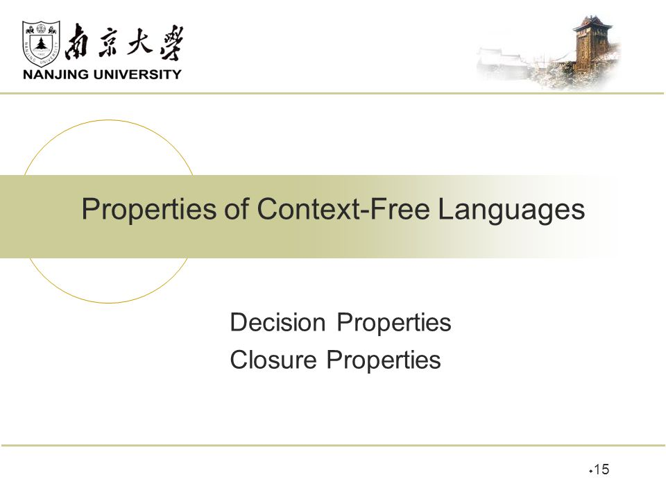 Decision Properties Closure Properties Properties of Context-Free Languages  15