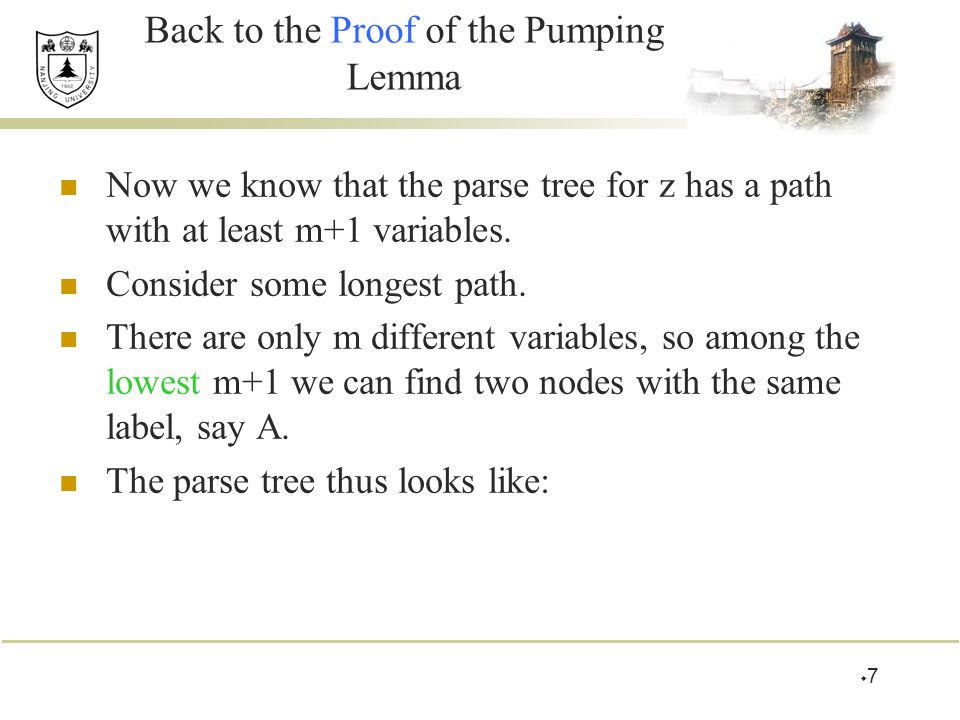 Back to the Proof of the Pumping Lemma Now we know that the parse tree for z has a path with at least m+1 variables.