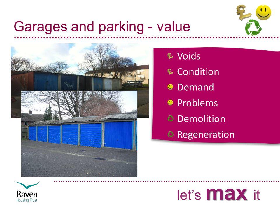 Garages and parking - value Voids Condition Demand Problems Demolition Regeneration max let's max it