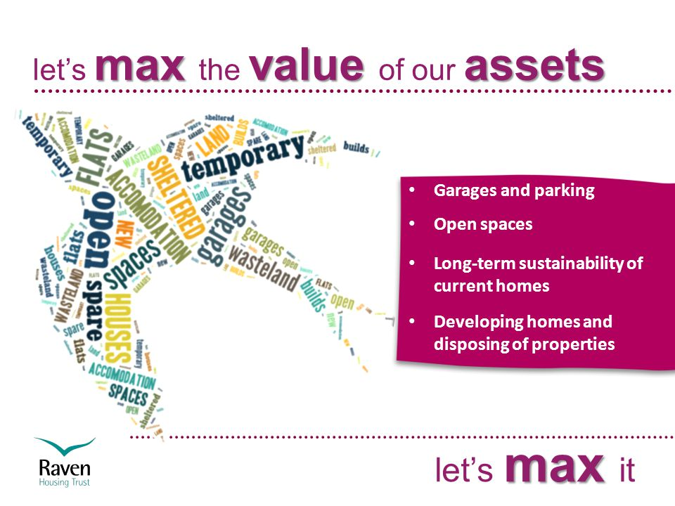maxvalue assets let's max the value of our assets max let's max it Garages and parking Open spaces Long-term sustainability of current homes Developing homes and disposing of properties