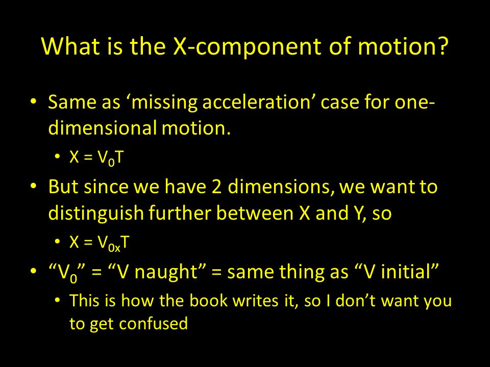 What is the X-component of motion. Same as 'missing acceleration' case for one- dimensional motion.