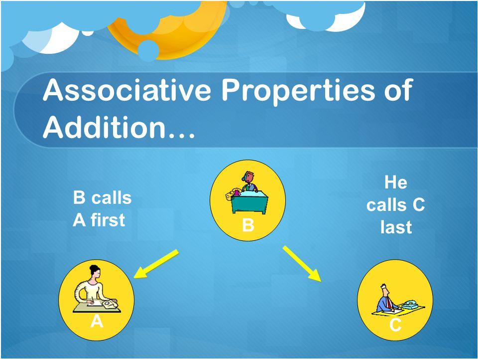 Associative Properties of Addition… A CB B calls A first He calls C last NO!NO!