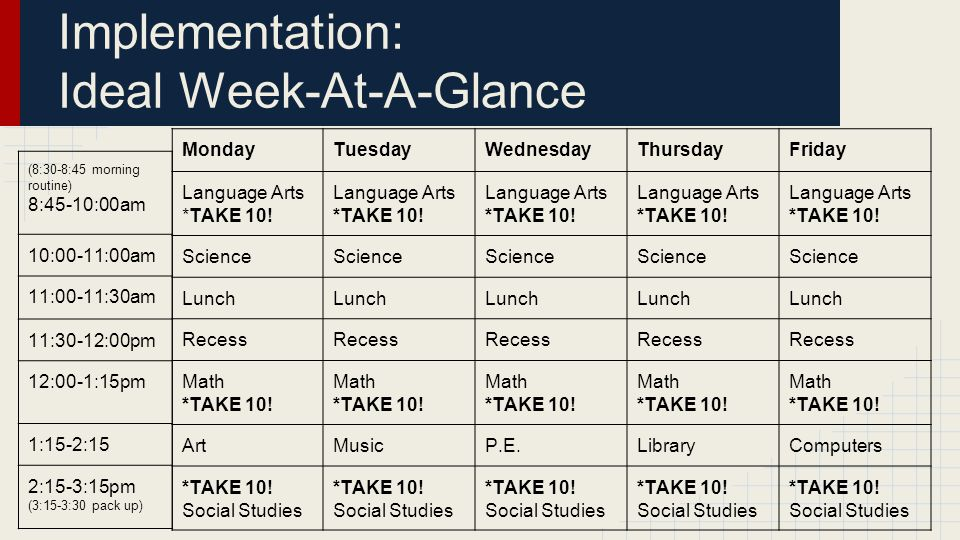 MondayTuesdayWednesdayThursdayFriday Language Arts *TAKE 10.