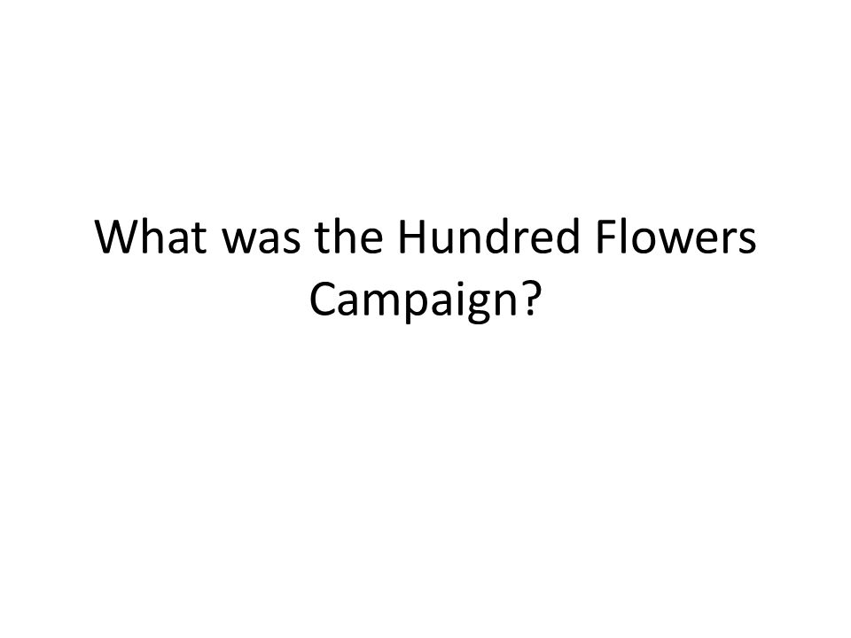 What was the Hundred Flowers Campaign?