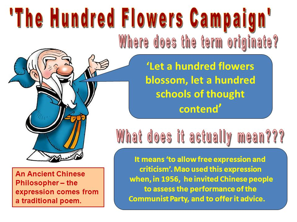 'Let a hundred flowers blossom, let a hundred schools of thought contend ' An Ancient Chinese Philosopher – the expression comes from a traditional poem.