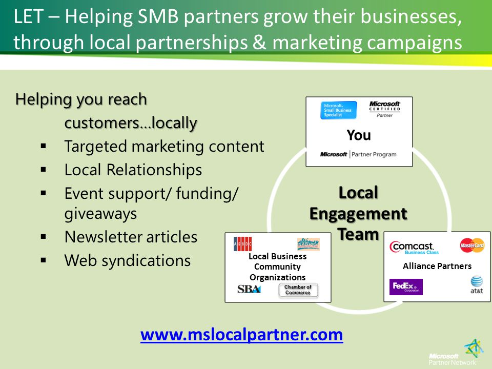 Helping you reach customers…locally  Targeted marketing content  Local Relationships  Event support/ funding/ giveaways  Newsletter articles  Web