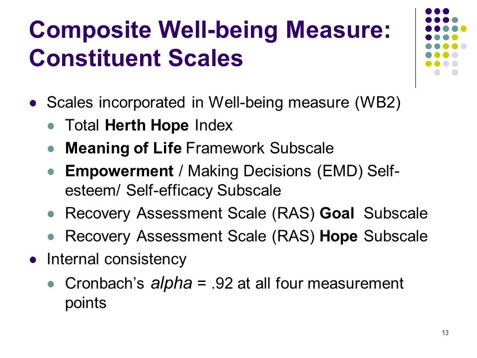 13 Composite Well-being Measure: Constituent Scales Scales incorporated in Well-being measure (WB2) Total Herth Hope Index Meaning of Life Framework Subscale Empowerment / Making Decisions (EMD) Self- esteem/ Self-efficacy Subscale Recovery Assessment Scale (RAS) Goal Subscale Recovery Assessment Scale (RAS) Hope Subscale Internal consistency Cronbach's alpha =.92 at all four measurement points