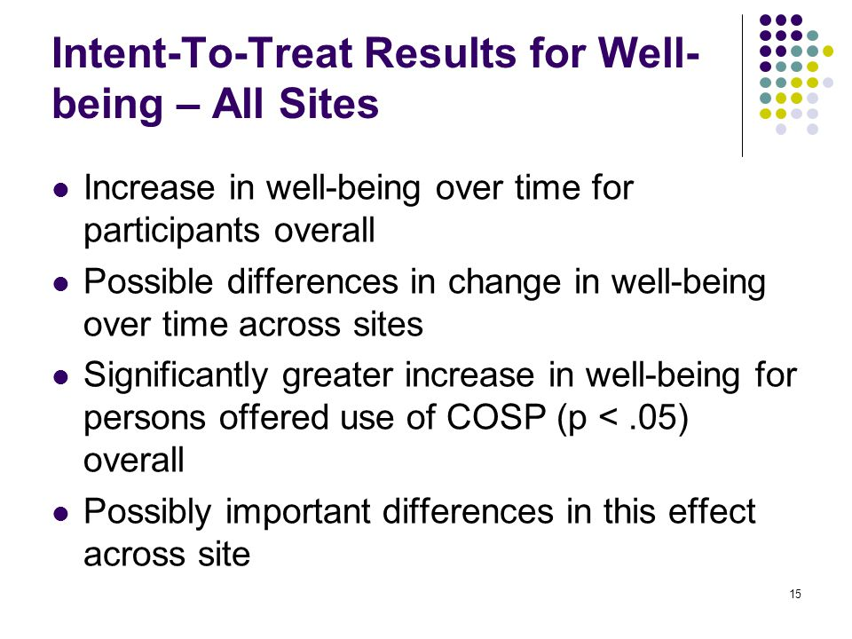 15 Intent-To-Treat Results for Well- being – All Sites Increase in well-being over time for participants overall Possible differences in change in well-being over time across sites Significantly greater increase in well-being for persons offered use of COSP (p <.05) overall Possibly important differences in this effect across site