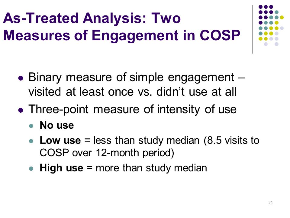 21 As-Treated Analysis: Two Measures of Engagement in COSP Binary measure of simple engagement – visited at least once vs.