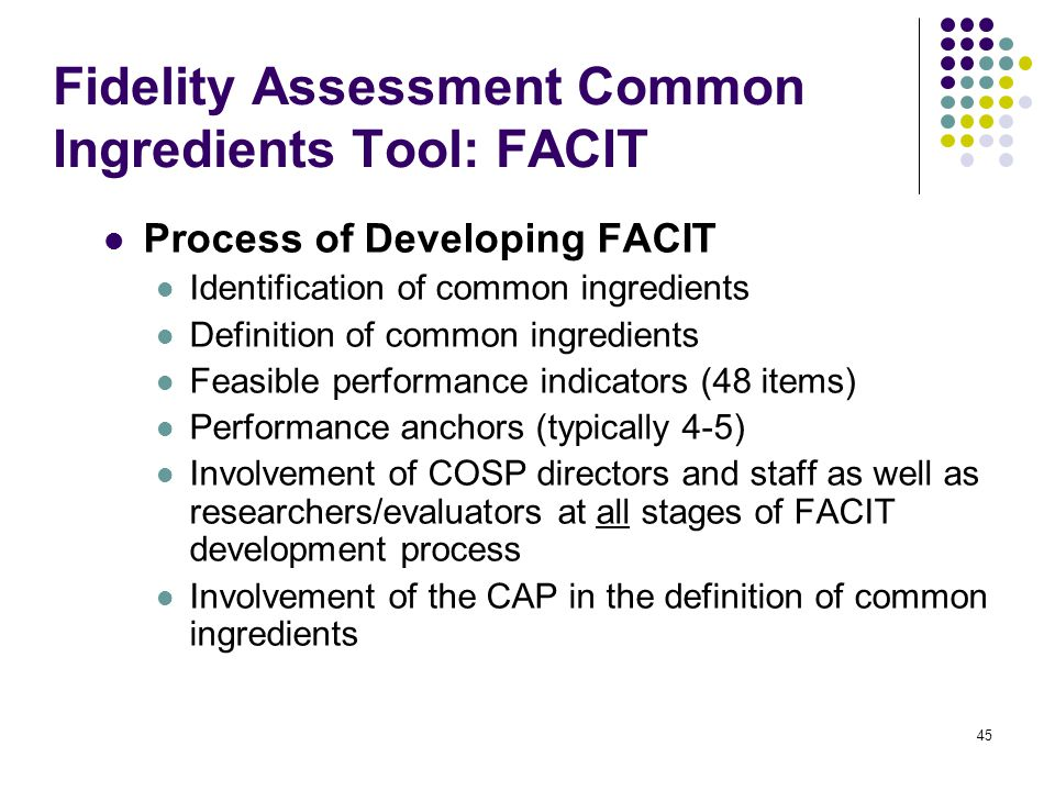 45 Fidelity Assessment Common Ingredients Tool: FACIT Process of Developing FACIT Identification of common ingredients Definition of common ingredients Feasible performance indicators (48 items) Performance anchors (typically 4-5) Involvement of COSP directors and staff as well as researchers/evaluators at all stages of FACIT development process Involvement of the CAP in the definition of common ingredients