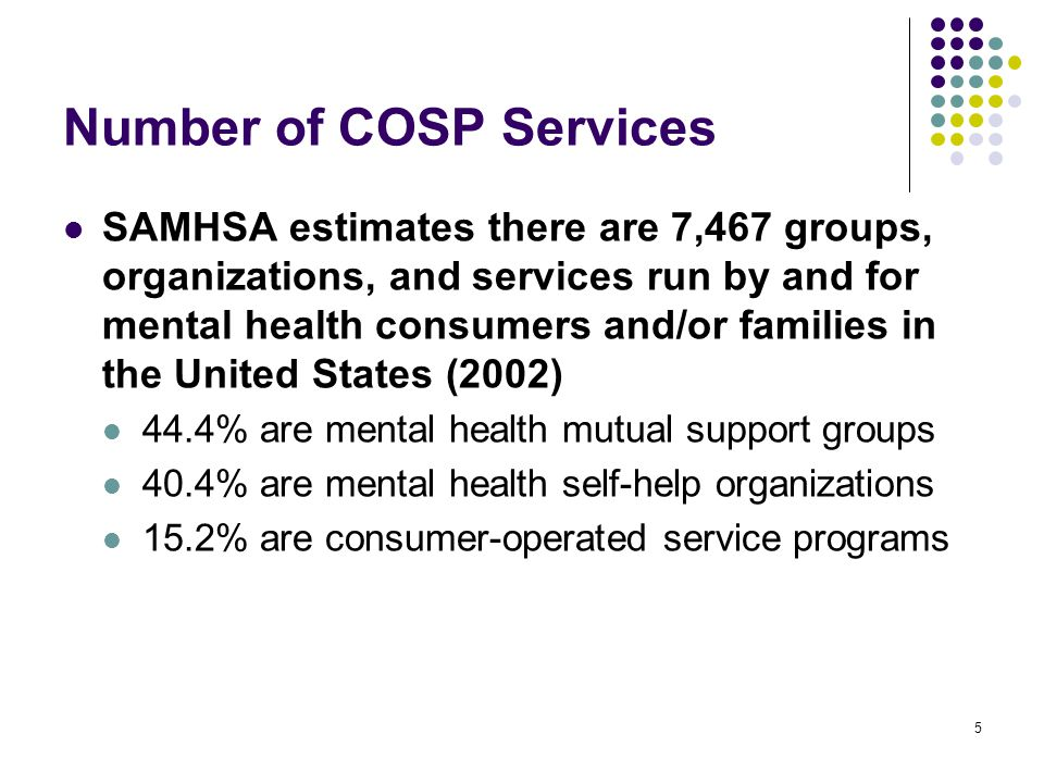 6 COSP Effectiveness Studies using non-randomized control groups or pretest scores as comparisons found that participation in peer support Reduces psychiatric symptoms Decreases hospitalization Enlarges social networks Enhances self-esteem and social functioning