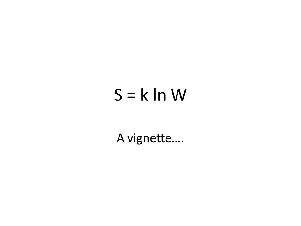 S = k ln W A vignette….