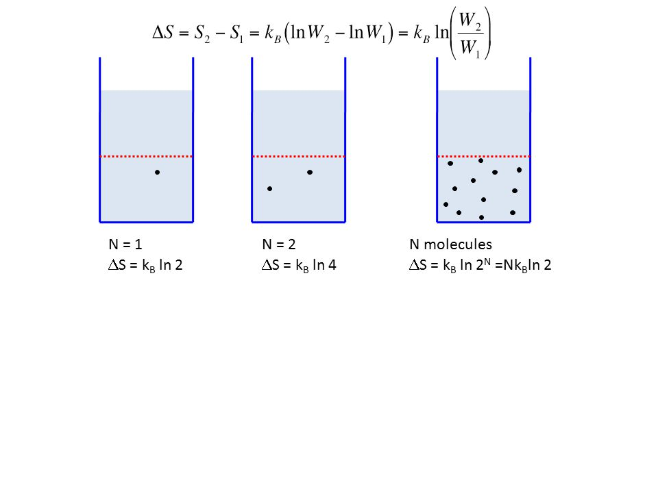 N = 1  S = k B ln 2 N = 2  S = k B ln 4 N molecules  S = k B ln 2 N =Nk B ln 2
