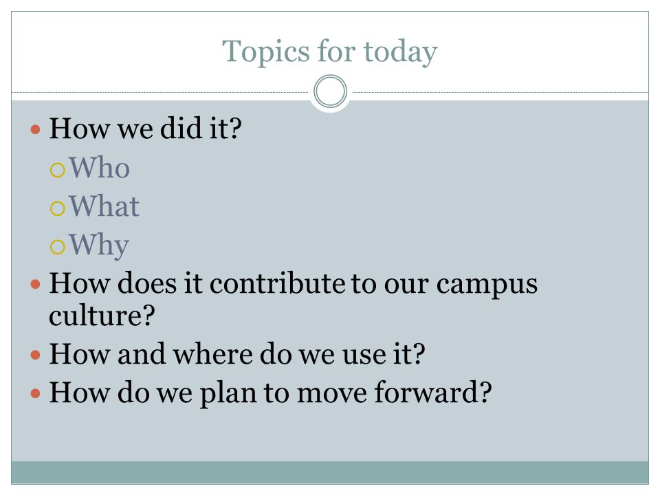 Topics for today How we did it?  Who  What  Why How does it contribute to our campus culture? How and where do we use it? How do we plan to move fo