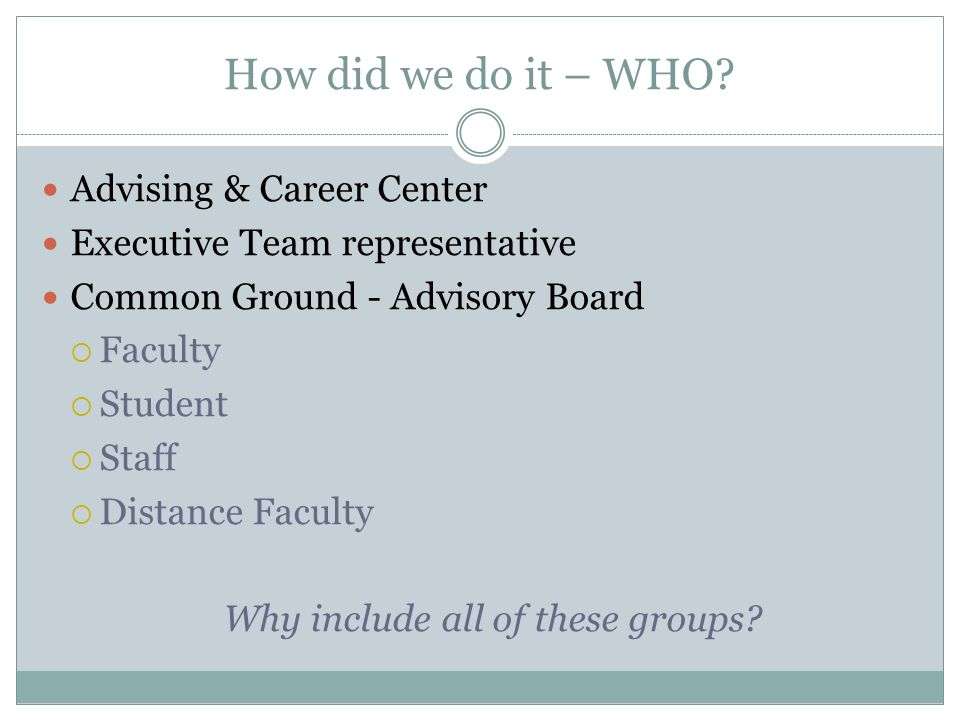 How did we do it – WHO? Advising & Career Center Executive Team representative Common Ground - Advisory Board  Faculty  Student  Staff  Distance F