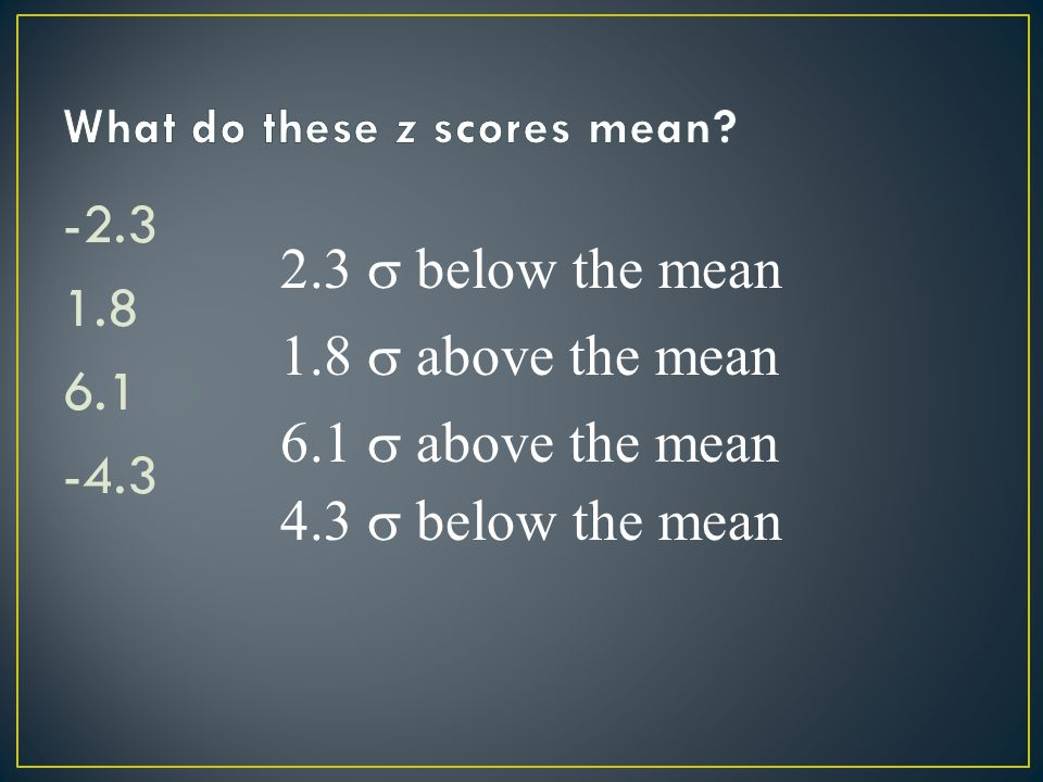 -2.3 1.8 6.1 -4.3 2.3  below the mean 1.8  above the mean 6.1  above the mean 4.3  below the mean