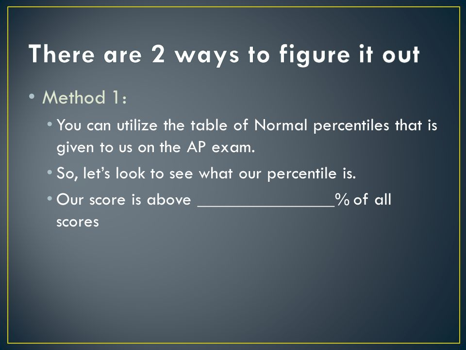 Method 1: You can utilize the table of Normal percentiles that is given to us on the AP exam.