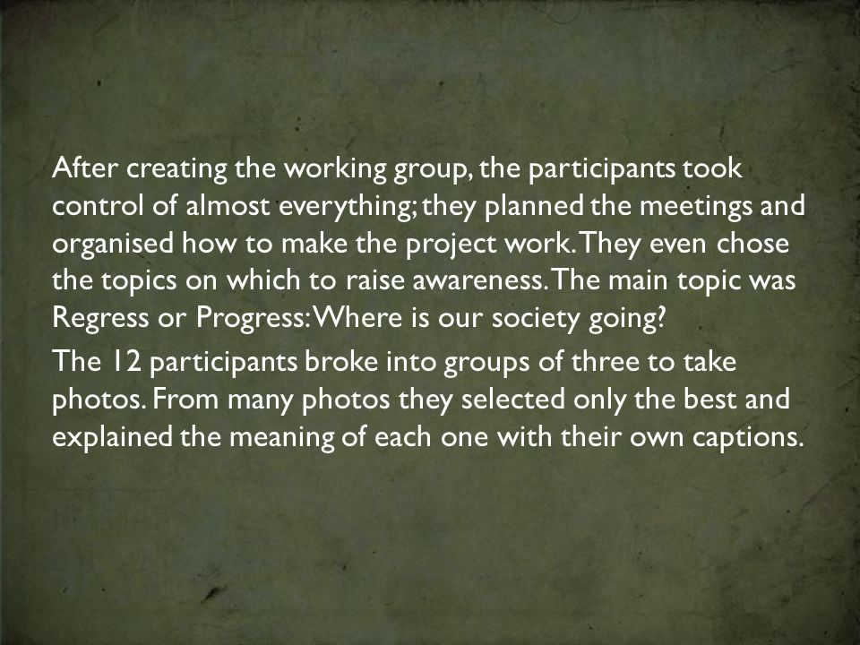After creating the working group, the participants took control of almost everything; they planned the meetings and organised how to make the project work.