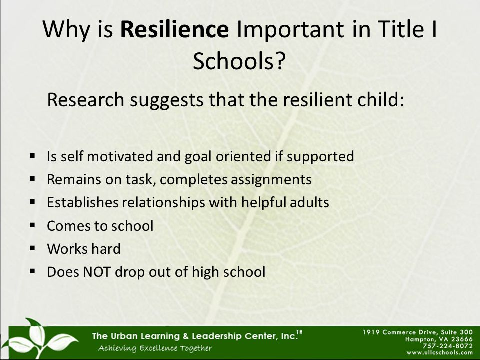 Why is Resilience Important in Title I Schools.