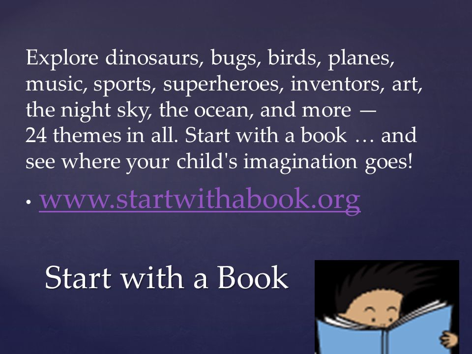  http://www.storylineonline.net/ - stories read aloud by actors, sponsored by SAG http://www.storylineonline.net/  http://www.starfall.com/ - geared for younger readers http://www.starfall.com/  http://www.wegivebooks.org/books - for every book you read, they donate books to needy children.