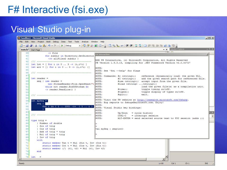 F# Interactive (fsi.exe) Visual Studio plug-in