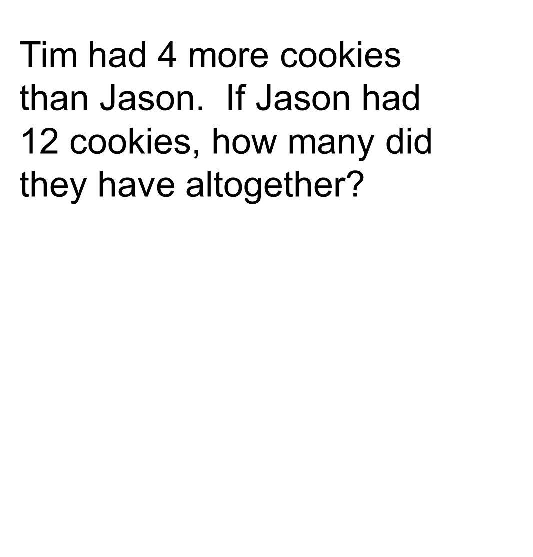 Tim had 4 more cookies than Jason. If Jason had 12 cookies, how many did they have altogether