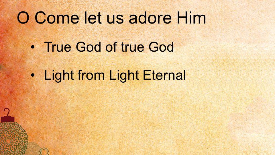 O Come let us adore Him True God of true God Light from Light Eternal