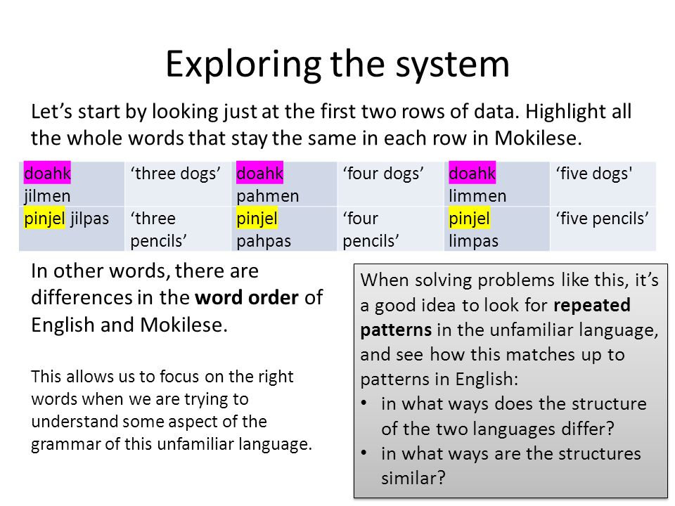 Exploring the system doahk jilmen 'three dogs'doahk pahmen 'four dogs'doahk limmen 'five dogs pinjel jilpas'three pencils' pinjel pahpas 'four pencils' pinjel limpas 'five pencils' Let's start by looking just at the first two rows of data.
