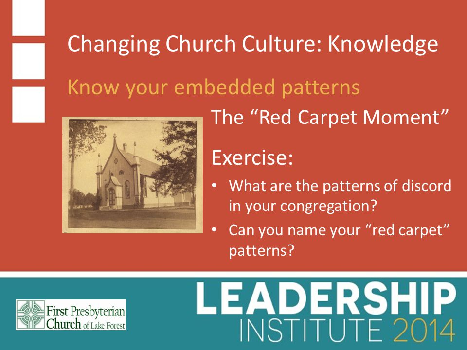 Changing Church Culture: Knowledge Know your embedded patterns Siloing