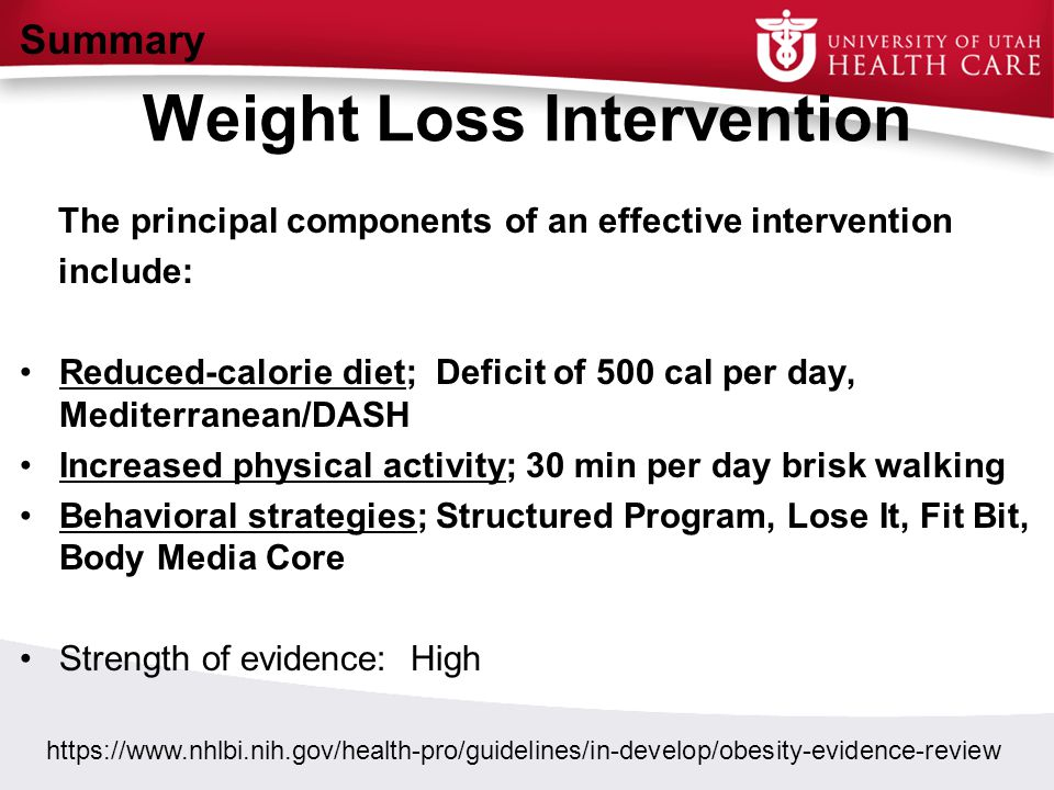 Weight Loss Intervention The principal components of an effective intervention include: Reduced-calorie diet; Deficit of 500 cal per day, Mediterranea