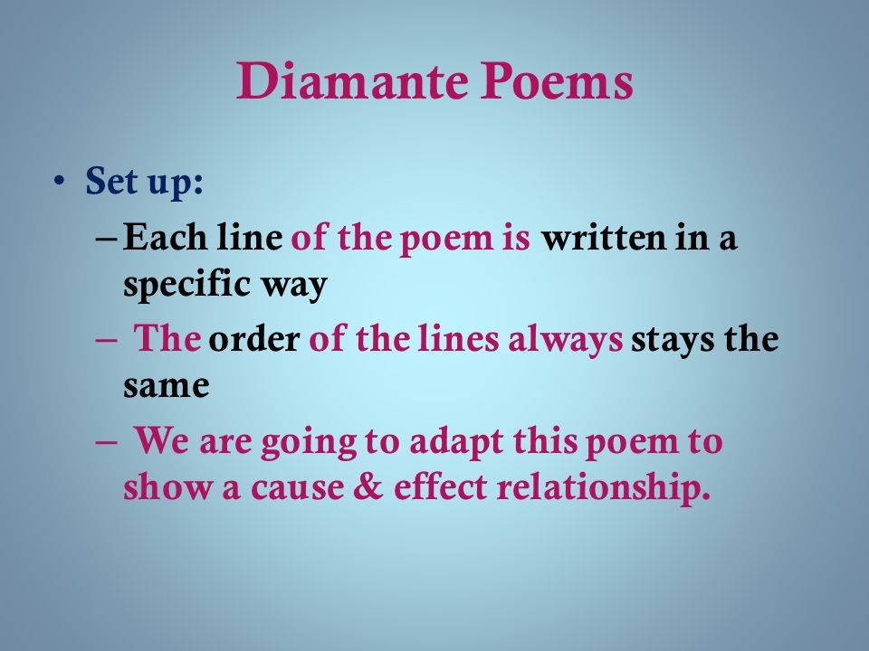 Diamante Poems Set up: – Each line of the poem is written in a specific way – The order of the lines always stays the same – We are going to adapt thi