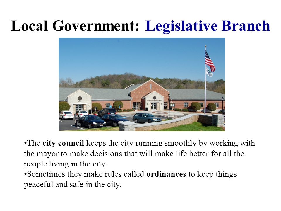 Local Government: Executive Branch In our city, the city of Lilburn, the leader of our executive branch is the mayor. The mayor makes plans and decisi