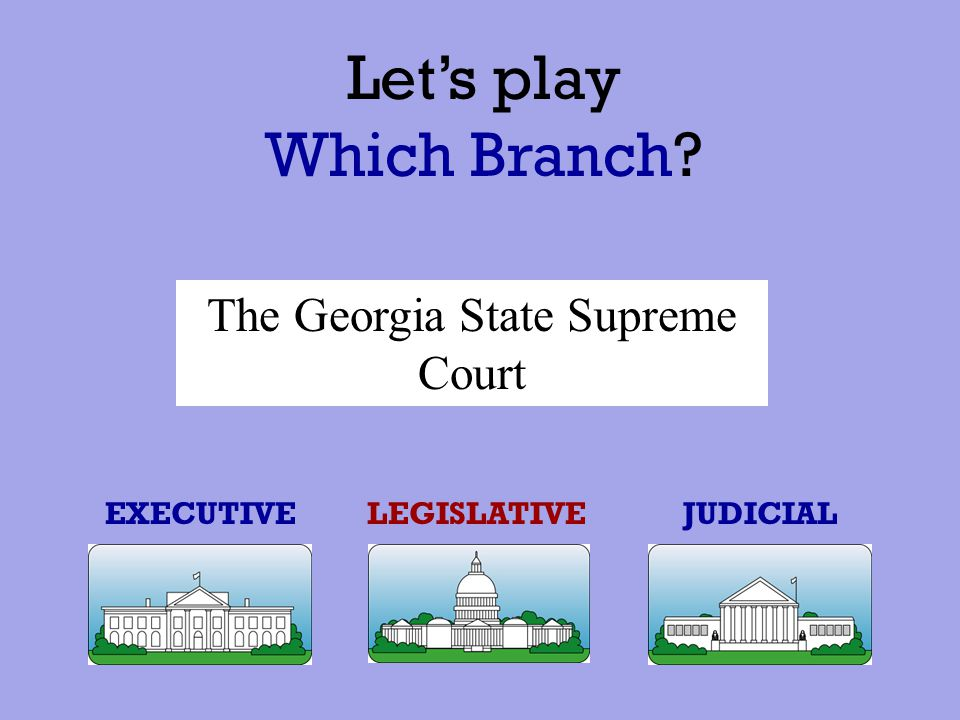 Let's play Which Branch? EXECUTIVE JUDICIALLEGISLATIVE Barack Obama