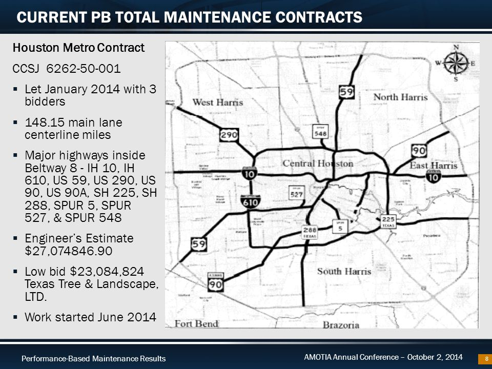 Performance-Based Maintenance Results AMOTIA Annual Conference – October 2, 2014 Houston Metro Contract CCSJ 6262-50-001  Let January 2014 with 3 bid