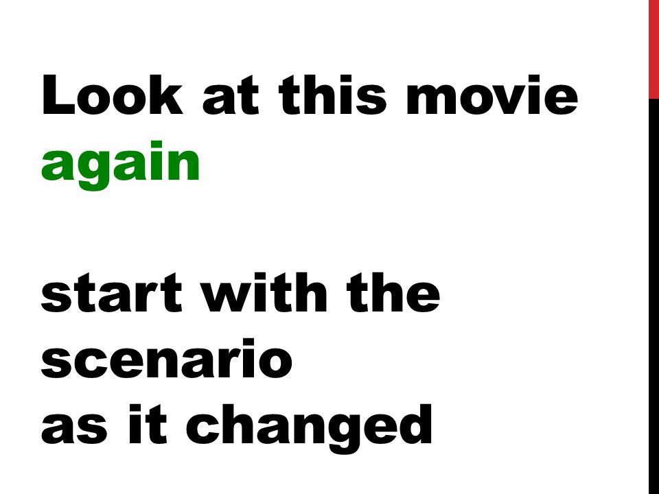 Look at this movie again start with the scenario as it changed
